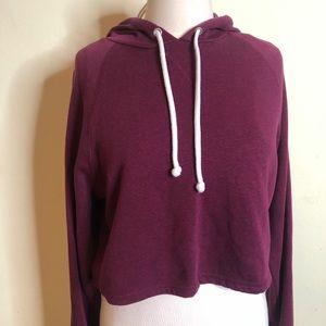 🔥H&M Maroon crop top hoodie